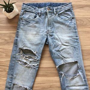 Ripped Cropped Jeans Capri Denim Pants Bottoms